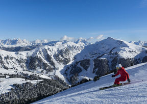 Good-Morning-Skifahren in Obereggen in den Südtiroler Dolomiten.