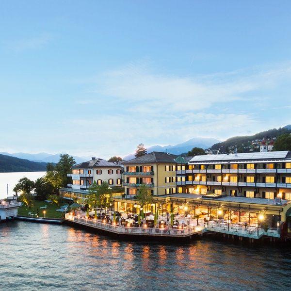 Blick auf das Hotel Die Forelle am Millstätter See in Kärnten