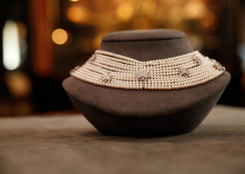 Collier, Halskette, Sisi-Sterne, Perlen