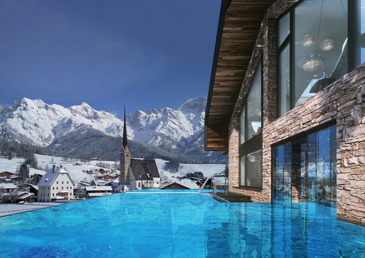 Die Hochkönigin Magic Mountain Resort Hotel Maria Alm Salzburger Land Infinity Pool Winter