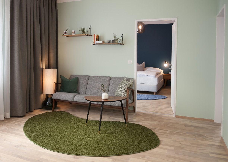 Etagerie Linz Hotel Apartement Innenansicht Design Wohnzimmer