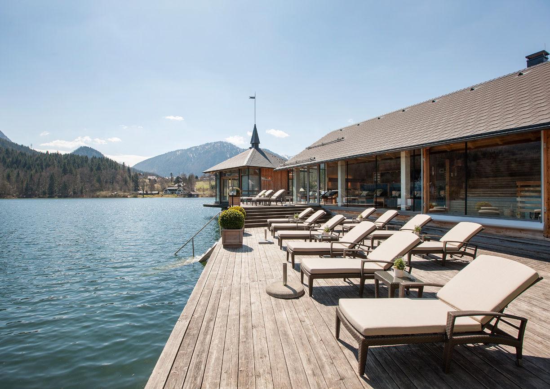 Grundlsee, Seehotel, Salzkammergut, Liegewiese, Pavillon