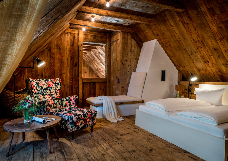 Pures Leben Stadl Wuggitz Ferien Haus Altenbach Oberhaag Südsteiermark Innenansicht Bett