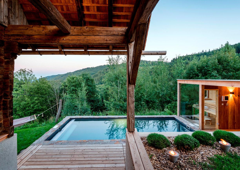 Pures Leben Stadl Wuggitz Ferien Haus Altenbach Oberhaag Südsteiermark Pool Sauna