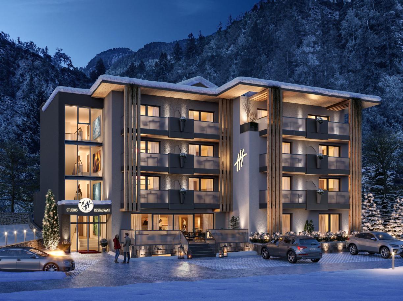 Vier Hotel Studios Restaurant Tirol Aussenansicht Winter